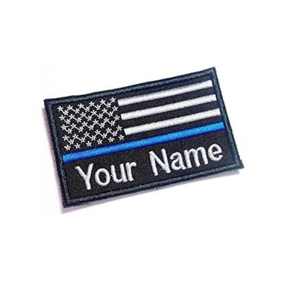 DREAM ARMY Airsoft Morale Patch 1 Custom Name Thin Blue LINE USA Flag Morale Patch Hook Backing 9X5.5 cm