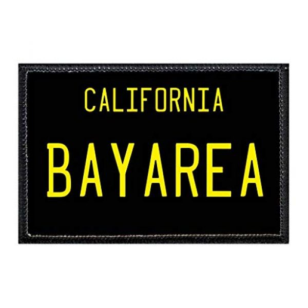 P PULLPATCH Airsoft Morale Patch 1 Bay Area - California License Plate Morale Patch | Hook and Loop Attach for Hats, Jeans, Vest, Coat | 2x3 in | by Pull Patch