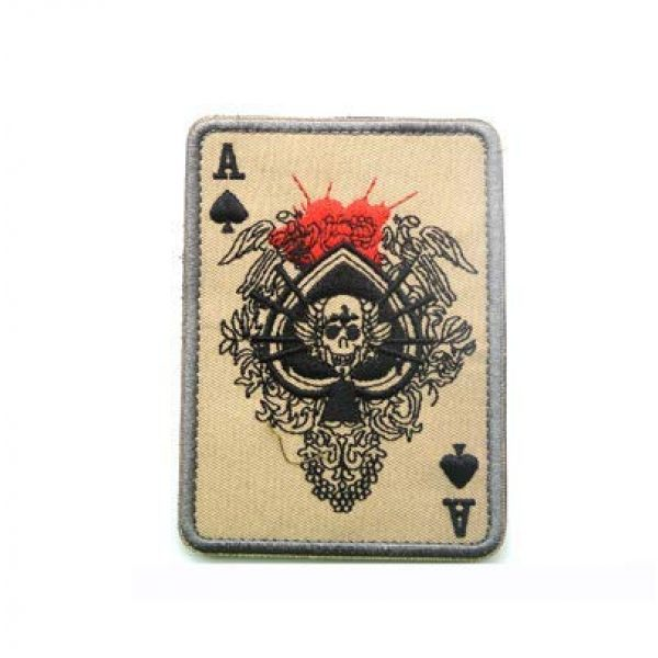 Tactical Embroidery Patch Airsoft Morale Patch 1 Ace of Spades Winged Skull Card Death Card Embroidery Patch Military Tactical Morale Patch Badges Emblem Applique Hook Patches for Clothes Backpack Accessories