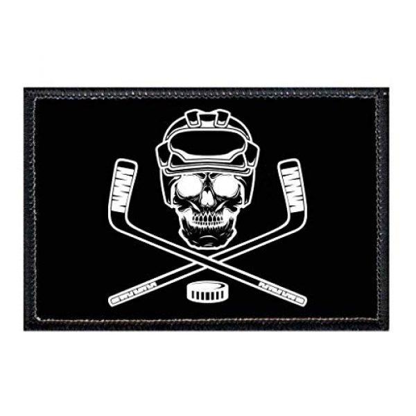 P PULLPATCH Airsoft Morale Patch 1 Hockey - Goon - Black Background Morale Patch   Hook and Loop Attach for Hats, Jeans, Vest, Coat   2x3 in   by Pull Patch