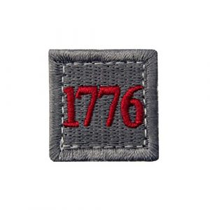 EmbTao Airsoft Morale Patch 1 1776 American Independence Emblem Tactical USA Morale Embroidered Applique Fastener Hook&Loop Patch - Sliver Gray