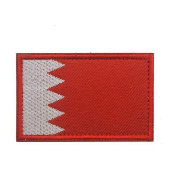 Tactical Embroidery Patch Airsoft Morale Patch 1 Bahrain Flag Embroidery Patch Military Tactical Morale Patch Badges Emblem Applique Hook Patches for Clothes Backpack Accessories