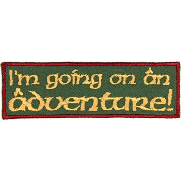 """Barefoot Sewing Airsoft Morale Patch 1 I'm Going on an Adventure Patch Iron On Applique - Olive Green, Burgundy, Nonmetallic Gold - 4"""" x 1.25"""" Rectangle - Made in The USA"""