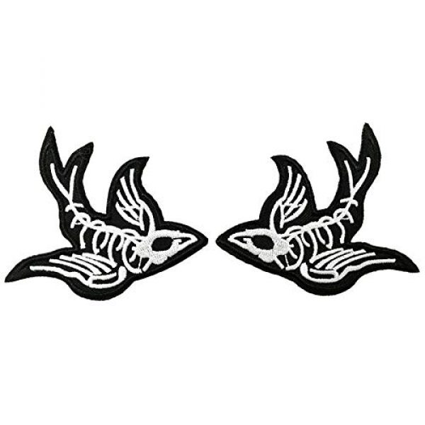 Cute-Patch Airsoft Morale Patch 1 One Pair Swallow X-Ray Skeleton Embroidered Iron On Sew On Patch Heavy Metal Rock Punk Tattoo Emblem