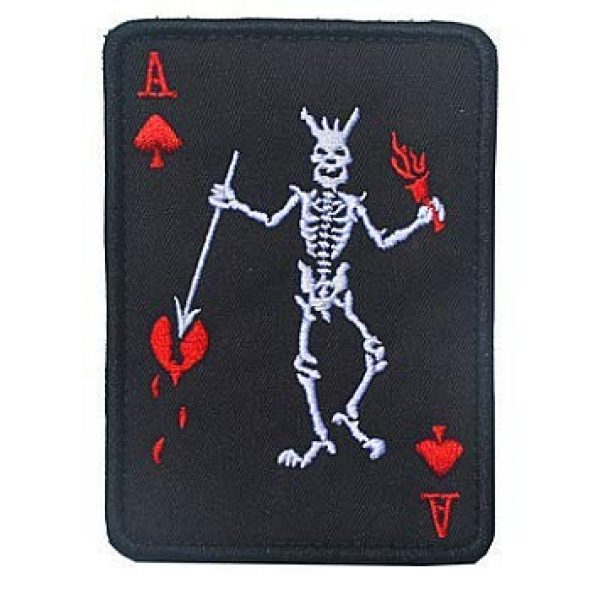Embroidery Patch Airsoft Morale Patch 1 Ace of Spades Death Reaper Skeleton Cards Poker Military Hook Loop Tactics Morale Embroidered Patch (color2)
