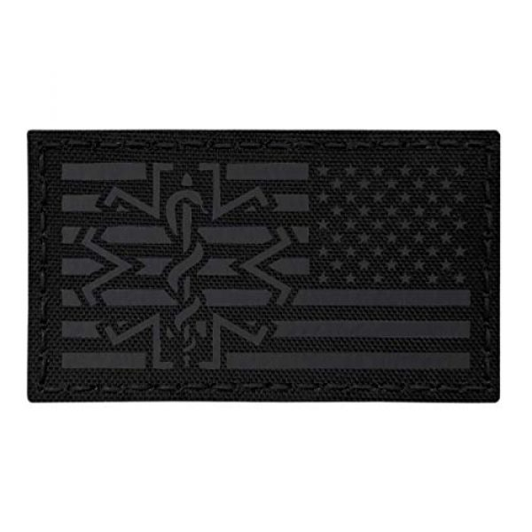 Tactical Freaky Airsoft Morale Patch 1 IR Blackout USA American Reversed Flag EMS Star of Life Right Arm Medic Paramedic 2x3.5 Tactical Morale Fastener Patch