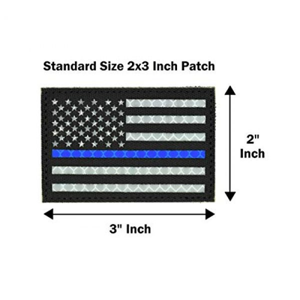 Great 1 Products Airsoft Morale Patch 4 Reflective American Thin Blue Line Flag Patch, 2x3 inch, Cordura Material, Hook and Loop, Military and Tactical Accessory for Clothing-Jackets-Hats-Backpacks (Thin Blue Line)