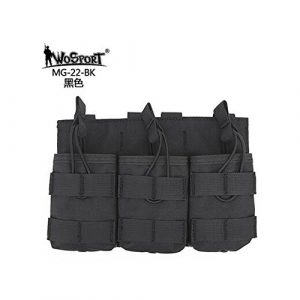 WoSporT Tactical Pouch 1 WoSporT Tactical MOLLE Triple 7.62 MAG Pouch Camouflage Hunting Flashlight Bags