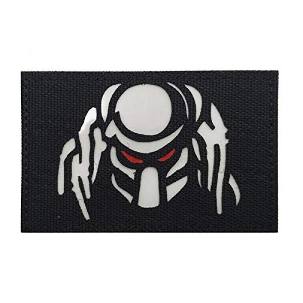 Zhikang68 Airsoft Morale Patch 1 Dark Predator Alien Morale Infrared IR Reflective Patch Tactical Vest Emblem Hook Loop Fastener Backing Military Uniform Army Multicam Badge Sew On Applique for Outdoors (White Eyes)