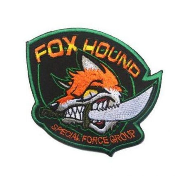 Tactical Embroidery Patch Airsoft Morale Patch 1 Metal Gear Solid MGS Fox Hound Special Force Group Embroidery Patch Military Tactical Morale Patch Badges Emblem Applique Hook Patches for Clothes Backpack Accessories