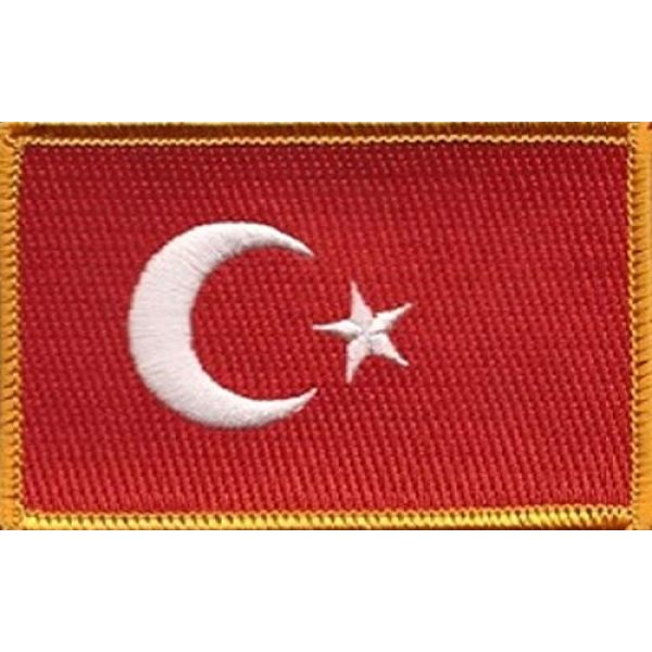 """World Flags Direct Airsoft Morale Patch 1 International Country Flag Patch 3.50"""" x 2.25"""", One Embroidered Iron or Sew On Flag Emblem; Over 100 Tactical Morale Patch Options Available (Turkey)"""