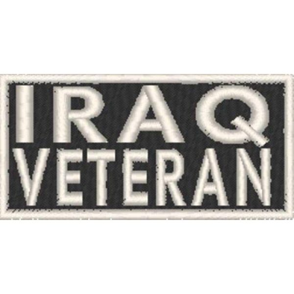 Fast Service Designs Airsoft Morale Patch 1 Iraq Veteran Patch with Hook & Loop Travel Patriotic Morale Emblem White Border #02