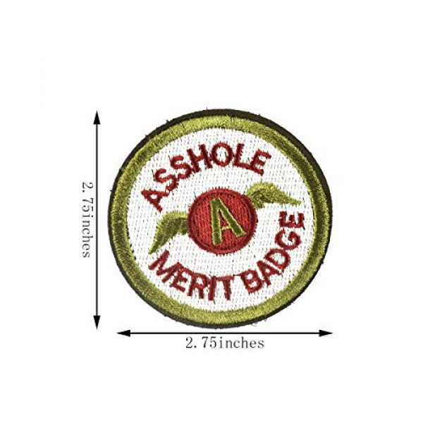 J.CARP Airsoft Morale Patch 3 2 Pieces Asshole Merit Badge Morale Patch, Funny Tactical Military Morale Patch Hook & Loop, Green