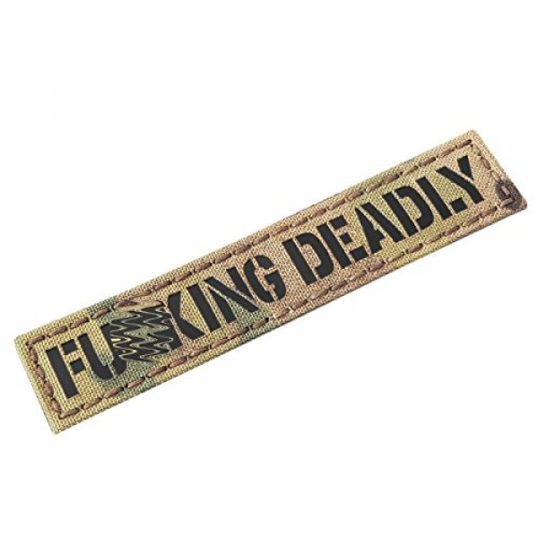 Tactical Freaky Airsoft Morale Patch 1 IR Fuing Deadly 1x5 Multicam Infrared Name Tag Callsign Morale Tactical Fastener Patch