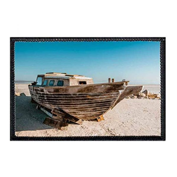 P PULLPATCH Airsoft Morale Patch 1 Abandoned Boat, Salton Sea Morale Patch | Hook and Loop Attach for Hats, Jeans, Vest, Coat | 2x3 in | by Pull Patch