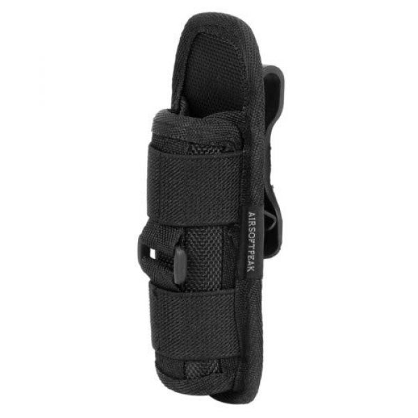 AIRSOFTPEAK Tactical Pouch 1 AIRSOFTPEAK Flashlight Pouch Holster Carry Case Holder with 360 Degrees Rotatable Belt Clip Long Type, Black