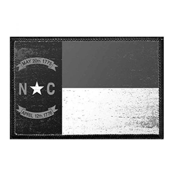 P PULLPATCH Airsoft Morale Patch 1 North Carolina State Flag - Black and White - Distressed Morale Patch | Hook and Loop Attach for Hats, Jeans, Vest, Coat | 2x3 in | by Pull Patch