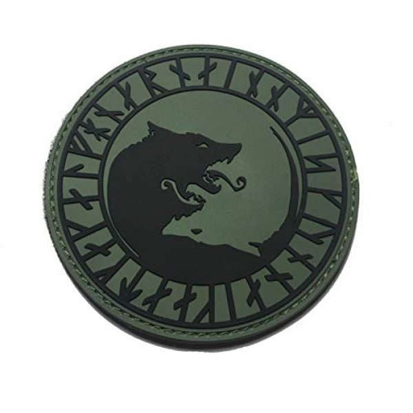 """Empire Tactical USA Airsoft Morale Patch 1 The OD Green Viking LFHNAR, NO Mercy, ONLY Violence Wolf Rune PVC 3.5"""" Tactical Morale Patch (Hook/Loop)"""