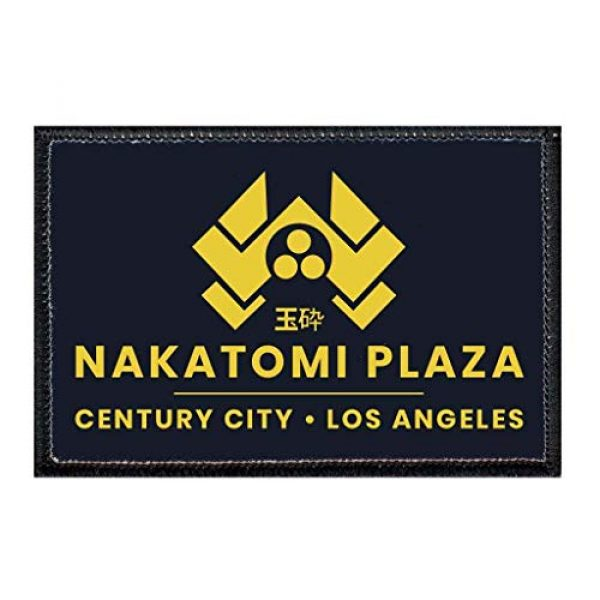 P PULLPATCH Airsoft Morale Patch 1 Nakatomi Plaza Black Morale Patch   Hook and Loop Attach for Hats, Jeans, Vest, Coat   2x3 in   by Pull Patch
