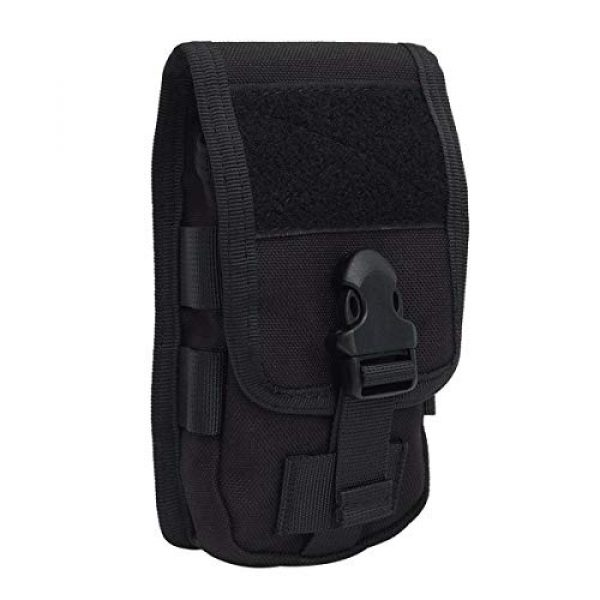 Riyiter Tactical Pouch 5 Riyiter Universal Multifunction Cell Phone Holster Pouch Tactical Smartphone Pouches EDC Case Molle Gadget Bag Case with Belt Loop Hook Cover Case Double-Layer Nylon Coin Purse Black