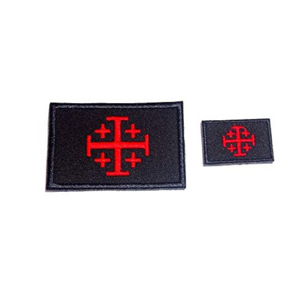 JIN4 Airsoft Morale Patch 1 B52 Jerusalem Cross Crusader Embroidered Morale Patch 2 Pcs 3X2 and 1.5 X 1 inch Hook Backing (Black Red)