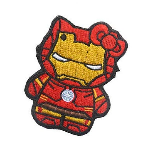 Embroidery Patch Airsoft Morale Patch 3 Hello Kitty As Iron Man Military Hook Loop Tactics Morale Embroidered Patch