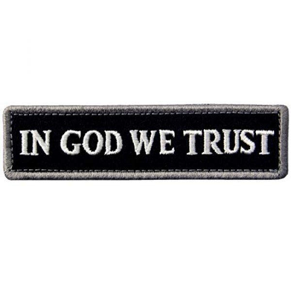 EmbTao Airsoft Morale Patch 1 EmbTao in GOD We Trust Embroidered Tactical Morale Fastener Hook&Loop Patch - Black & White