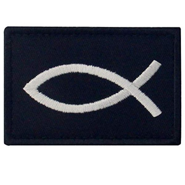 EmbTao Airsoft Morale Patch 1 Jesus Fish Ichthys Patch Embroidered Morale Applique Fastener Hook & Loop Emblem - White & Black