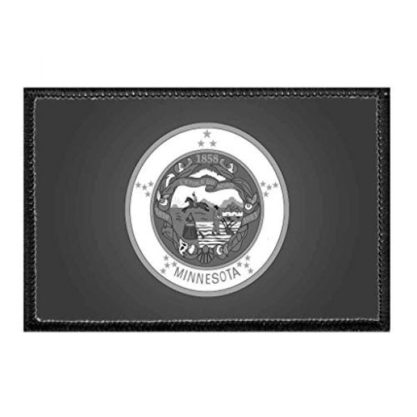 P PULLPATCH Airsoft Morale Patch 1 Minnesota State Flag - Black and White Morale Patch   Hook and Loop Attach for Hats, Jeans, Vest, Coat   2x3 in   by Pull Patch