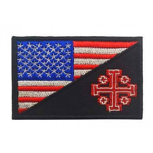 Embroidery Patch Airsoft Morale Patch 1 United States Flag Templar Knights Jerusalem Cross Military Hook Loop Tactics Morale Embroidered Patch