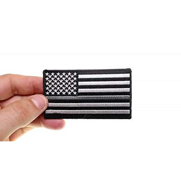 Ivamis Trading Airsoft Morale Patch 3 Thin Silver Line American Flag for Corrections - 3.5x2 inch. Embroidered Iron on Patch