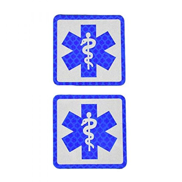 JFFCE Airsoft Morale Patch 1 Reflect Light Medic Cross Patch/Americana Flag Morale Patches Tactical Patch Combat Hook Fasteners for Hats Caps Bags Jackets Backpack (Blue JY)