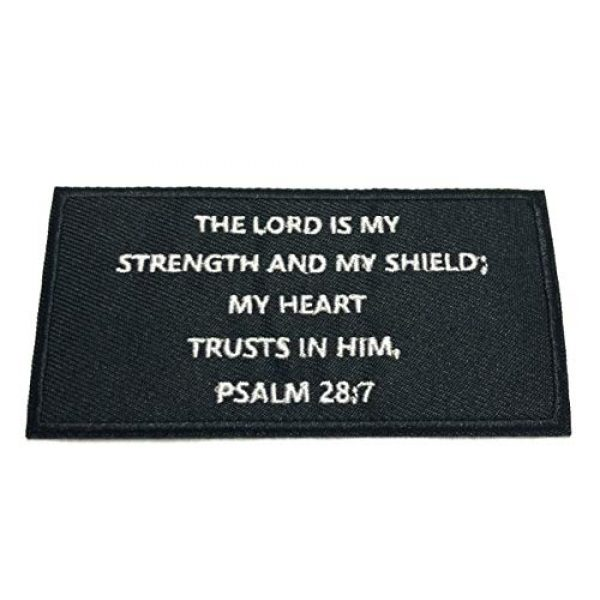 """Appalachian Spirit Airsoft Morale Patch 1 Psalms 28:7 Bible Verse - 4"""" W x 2"""" T - Embroidered DIY Iron on or Sew-on Decorative Patch Badge Emblem Military Tactical Series Applique"""