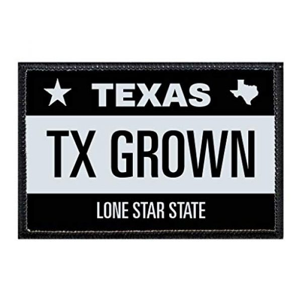 P PULLPATCH Airsoft Morale Patch 1 TX Grown - Texas License Plate Morale Patch | Hook and Loop Attach for Hats, Jeans, Vest, Coat | 2x3 in | by Pull Patch