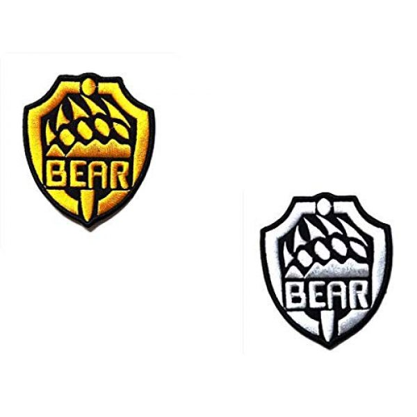 Embroidery Patch Airsoft Morale Patch 1 2 Pieces Escape from Tarkov Bear Claw Military Hook Loop Tactics Morale Embroidered Patch (color3)