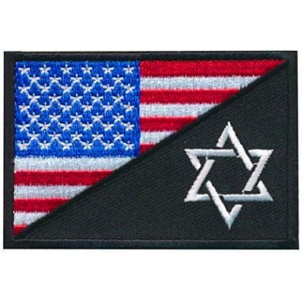 Embroidery Patch Airsoft Morale Patch 1 USA Flag Jewish Star of David Military Hook Loop Tactics Morale Embroidered Patch