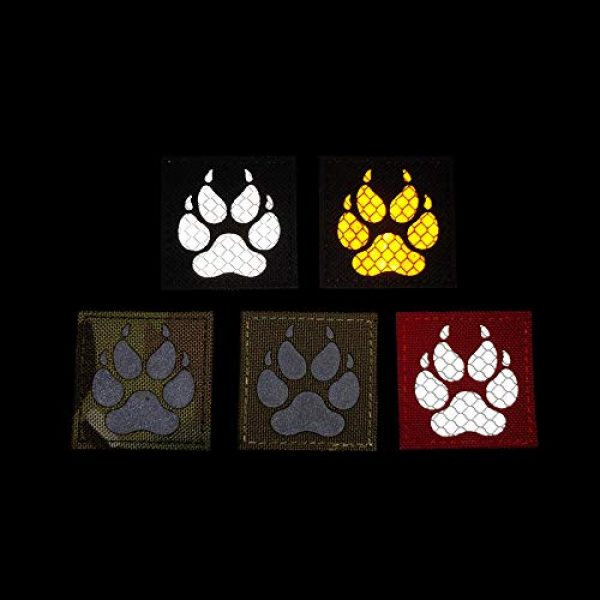 APBVIHL Airsoft Morale Patch 6 Reflective Infrared IR K9 Dog Handler Paw K-9 2x2 Tactical Morale Hook and Loop Fastener Patches