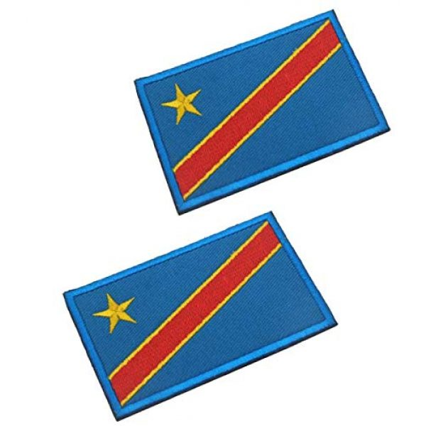 Tactical Embroidery Patch Airsoft Morale Patch 1 2pcs Congo Flag Embroidery Patch Military Tactical Morale Patch Badges Emblem Applique Hook Patches for Clothes Backpack Accessories