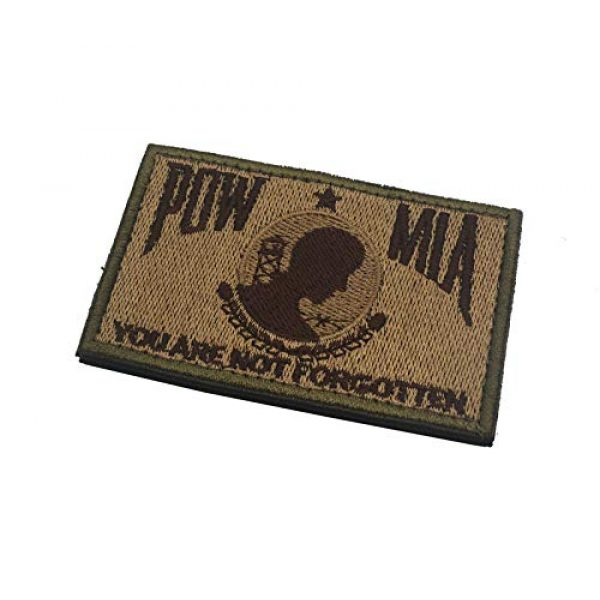 Zhikang68 Airsoft Morale Patch 3 POW MIA You are Not Forgotten Embroidered Patches Motorcycle Biker Vest Jacket Sew On Morale Vietnam,Military Shield Emblem(Khaki)
