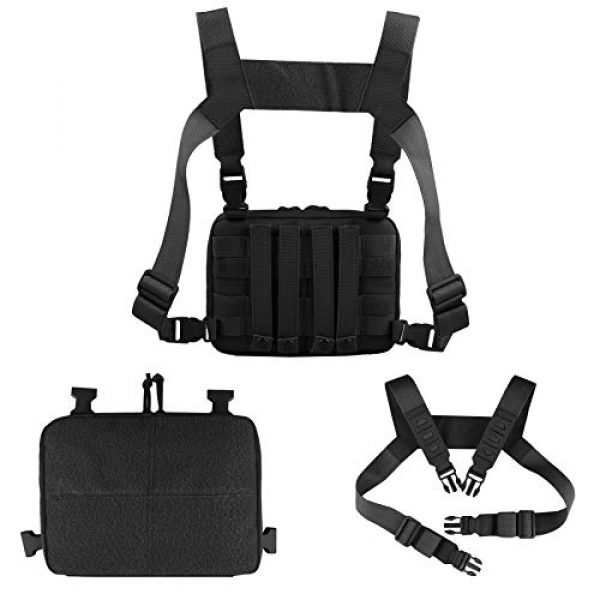 AMYIPO Tactical Pouch 3 AMYIPO Tactical Combat Chest Pack Molle Vest Bags Front Admin Pouch Equipment Multi-Purpose EDC Utility Recon Kit Bag Utility Pouches Modular Attachment Military Multi-Purpose Daypack