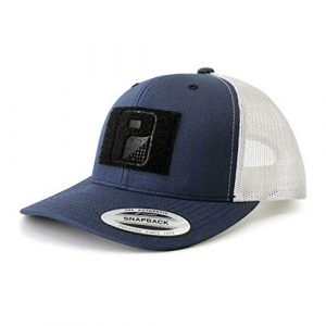 P PULLPATCH Tactical Hat 1 Pull Patch Tactical Hat | Authentic Snapback 2-Tone Curved Bill Trucker Cap | 2x3 in Hook and Loop Surface to Attach Morale Patches | 6 Panel | Navy Blue and White | Free US Flag Patch Included