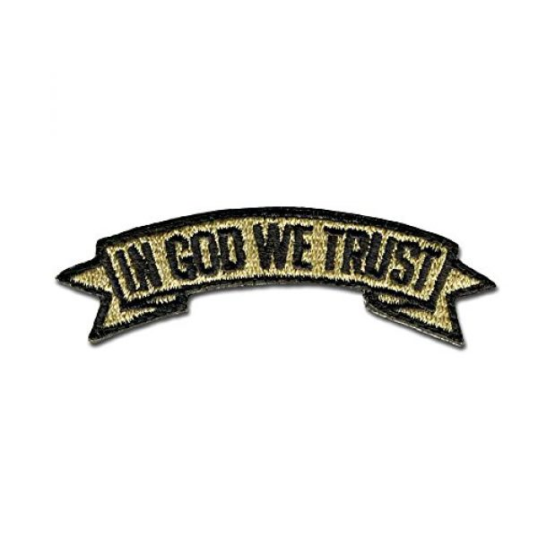 BASTION Airsoft Morale Patch 1 BASTION Morale Patches (in God We Trust, Tan)   3D Embroidered Patches with Hook & Loop Fastener Backing   Well-Made Clean Stitching   Christian Patches for Tactical Bag, Hats & Vest