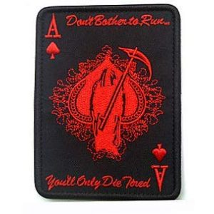 Embroidery Patch Airsoft Morale Patch 1 ACE of Spades Grim Reaper Death Card Patch Military Hook Loop Tactics Morale Embroidered Patch