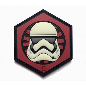 """Empire Tactical USA Airsoft Morale Patch 1 2.5"""" x 2.5"""" 3d PVC First Order Gitd Glow in the Dark Stormtrooper Helmet morale hook/loop Patch"""