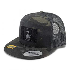 P PULLPATCH Tactical Hat 1 Pull Patch Tactical Hat | Authentic Snapback Multicam Flat Bill Trucker Cap | 2x3 in Hook and Loop Surface to Attach Morale Patches | 5 Panel | Black Camo and Black | Free US Flag Patch Included