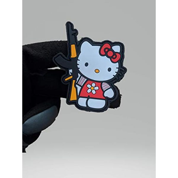 """Beastly Arms Airsoft Morale Patch 2 Kalash Kitty W/AK-47 Tactical PVC Rubber Morale Patch W/Hook Backing 3.3"""" x 2.2"""" Made in USA"""