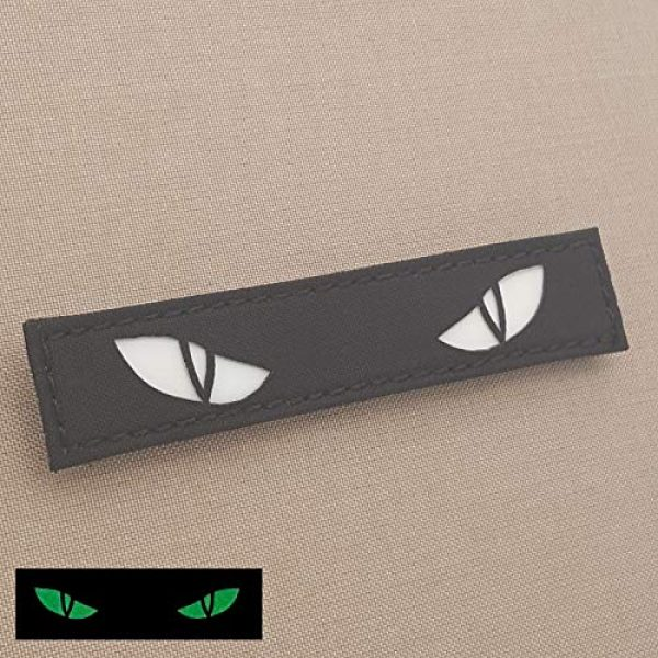 Tactical Freaky Airsoft Morale Patch 4 Glow Dark Scary Cat Eyes 1x5 GITD Eye Morale Tactical Touch Fastener Patch