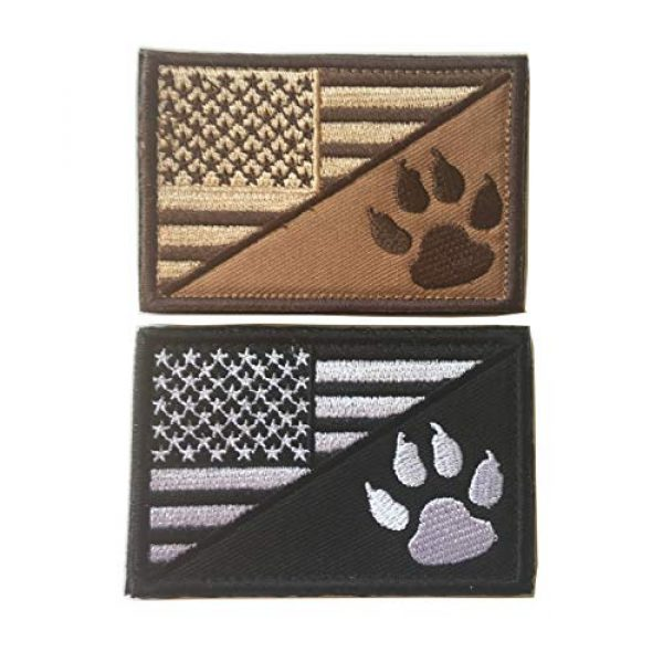 Xunqian Airsoft Morale Patch 1 USA American Flag w/Dog Tracker Paw Embroidered Applique Hook & Loop Patch (D-Bundle 2pcs Brown,Black)