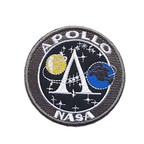 Tactical Embroidery Patch Airsoft Morale Patch 1 NASA Project Apollo Moon Landing Project Apollo Embroidery Patch Military Tactical Morale Patch Badges Emblem Applique Hook Patches for Clothes Backpack Accessories