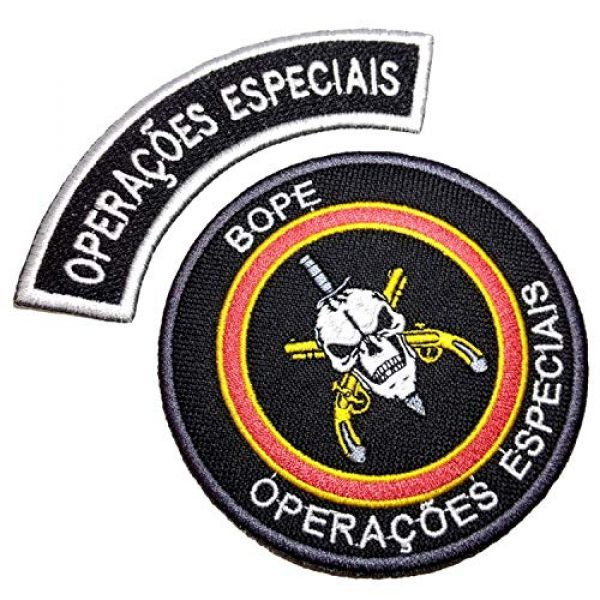 BR44 Airsoft Morale Patch 1 EML038V+EML047V Classic Bope RJ Brazil Rio De Janeiro Tropa De Elite Embroidered Patch with Hook in Back for Team Morale